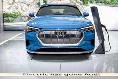 Audi E-Tron. NEW YORK, NY, USA - APRIL 17, 2019: Audi E-Tron first fully electric production mode at the New York International Auto Show 2019, at the Jacob stock photo