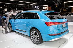 Audi E-Tron. NEW YORK, NY, USA - APRIL 17, 2019: Audi E-Tron first fully electric production mode at the New York International Auto Show 2019, at the Jacob royalty free stock images