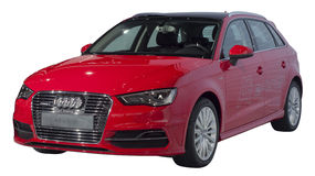 AUDI A3 e-tron. Red Audi A3 e-tron hybrid vehicle isolated on white stock image