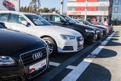 Audi emblem på en audibil royaltyfri foto