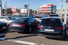 Audi emblem på en audibil arkivfoton