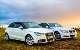Audi A1 et BMW E90 318i Photos stock