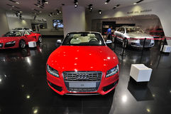 Audi Exhibition hall. Audi  Exhibition hall  in Beijing,Newest Audi vehicles in the showroom Royalty Free Stock Photo