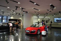 Audi Exhibition hall. Audi  Exhibition hall  in Beijing,Newest Audi vehicles in the showroom Stock Images