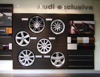 Audi Exhibition hall,Wheels Stock Photo