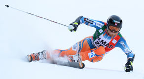 AUDI FIS WORLD CUP - ALTA BADIA ITALY GIANT SLALOM. ALTA BADIA, ITALY - DECEMBER 22 2013: Competing in the AUDI FIS Alpine World Cup giant Slalom race on the Royalty Free Stock Images