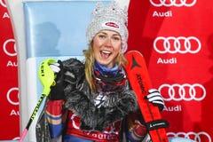 Audi FIS World Cup - Ladies Slalom award. ZAGREB, CROATIA - JANUARY 3, 2018 : Award ceremony of the Audi FIS Alpine Ski World Cup Women`s Slalom, Snow Queen Stock Image