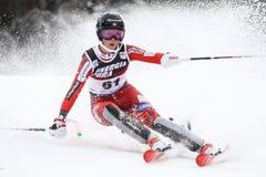 Audi FIS World Cup Ladies Slalom. ZAZAGREB, CROATIA - JANUARY 3, 2018 : Lysdahl Kristin of Nor competes during the Audi FIS Alpine Ski World Cup Women`s Slalom Royalty Free Stock Photo