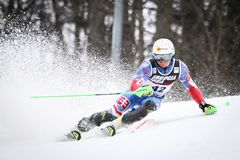 Audi FIS World Cup Mens Slalom. ZAGREB, CROATIA - JANUARY 4, 2018 : Zampa Adam of Svk competes during the Audi FIS Alpine Ski World Cup Mens Slalom, Snow Queen stock photos