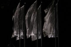 Audi flags in black and white Royalty Free Stock Image