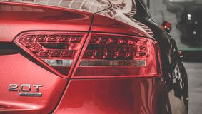 Audi front-view lights , Closeup headlights of car back bumper royalty free stock image