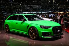 Audi A6. Geneva, Switzerland - March 10, 2019: ABT tuned Audi A6 presented at the annual Geneva International Motor Show 2019 stock photography