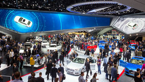 Audi Hall IAA motor show. FRANKFURT, GERMANY - SEP 16, 2015: View in the Audi Hall during IAA 2015 motor show Stock Photos