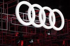 Audi Logo. Frankfurt, Germany - Sep 20, 2017: Audi corporate logo at the Frankfurt International Motorshow IAA 2017 Royalty Free Stock Image