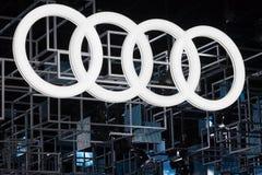 Audi Logo. Frankfurt, Germany - Sep 20, 2017: Audi corporate logo at the Frankfurt International Motorshow IAA 2017 Stock Images