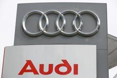 AUDI Logo. HUETTENBERG, GERMANY JULY, 2017: AUDI logo on a showroom facade. AUDI is a German automobile manufacturer based in Ingolstadt, BADEN-WÜRTTEMBERG Stock Image