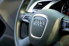Audi logo on steering wheel Royalty Free Stock Image