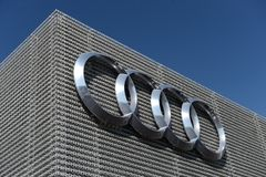 Audi logo on the wall Royalty Free Stock Images