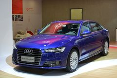 Audi New A6L e-tron hybrid saloon car. Guangzhou, China - November 18, 2017: Audi New A6L e-tron hybrid car was exhibited in the 15th China Guangzhou Stock Images