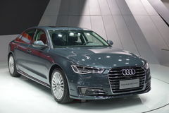 Audi New A6L e-tron hybrid saloon car. Guangzhou, China - November 19, 2016: Audi New A6L e-tron hybrid car was exhibited in the 14th China Guangzhou Royalty Free Stock Photography