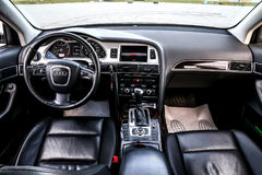 Audi A6. NOVYY URENGOY, RUSSIA - JUNE 20, 2017: Interior of the luxury car Audi A6 Royalty Free Stock Photo