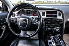 Audi A6. NOVYY URENGOY, RUSSIA - JUNE 20, 2017: Interior of the luxury car Audi A6 Stock Photo