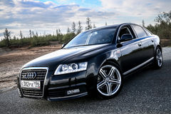 Audi A6. NOVYY URENGOY, RUSSIA - JUNE 20, 2017: Motor car Audi A6 at the countryside Royalty Free Stock Images