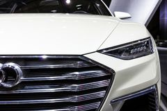 Audi Prologue Allroad car. BRUSSELS - JAN 12, 2016: Close up of an Audi Prologue Allroad concept luxury coupe and estate car at the Brussels Motor Show stock images