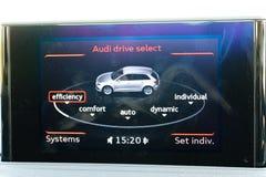 Audi Q3 2015 Dashboard Display. Hong Kong, China Nov 17, 2015 : Audi Q3 2015 Dashboard Display on Nov 17 2015 in Hong Kong Stock Photos