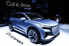 Audi Q4 e-tron. Geneva, Switzerland - March 10, 2019: Concept car Audi Q4 e-tron presented at the annual Geneva International Motor Show 2019 royalty free stock image