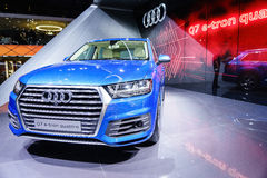 Audi Q7 E-Tron Quattro, Motor Show Geneve 2015. Audi Q7 E-Tron Quattro diesel-electric SUV at the 85th International Geneva Motor Show in Palexpo, Switzerland royalty free stock photos