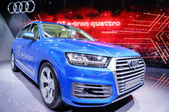 Audi Q7 E-Tron Quattro, Motor Show Geneve 2015. Stock Photo