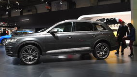 Audi Q7 full size luxury SUV car. On display during the 2017 European Motor Show Brussels stock footage