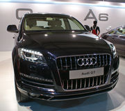 An Audi Q7 luxury SUV on display in Autocar Performance Show in Mumbai. An Audi Q7 luxury SUV on display in Autocar Performance Show held annually in MMRDA Royalty Free Stock Photo
