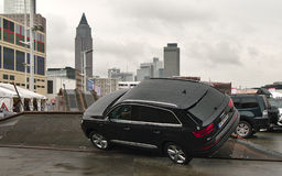Audi Q7. Off-road vehicle test track at the IAA Cars. Royalty Free Stock Image