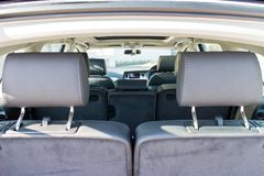 Audi Q7 3.0T Quattro 2014 back seat table Stock Photography