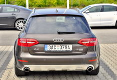 Audi A4 quattro allroad. PRAGUE, THE CZECH REPUBLIC, 02.08.2015 - Audi A4 allroad parks in front of Car Store Audi in Prague royalty free stock photography