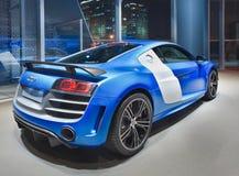 Audi R8 в выставочном зале на ноче, Пекин, Китай Стоковое Изображение