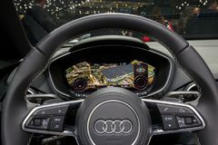 Audi R8 car interior view. GENEVA, SWITZERLAND - MARCH 1, 2016: Audi R8 sports car interior dashboard view at the 86th Geneva International Motor Show Stock Image