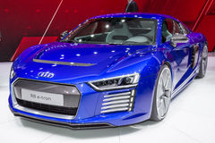 2015 Audi R8 e-tron. Presented the 85th International Geneva Motor Show stock photo