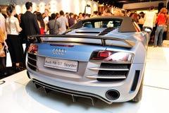 Audi R8 GT Spyder på skärm på Audi Fashion Festival 2012 Royaltyfria Foton