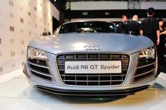 Audi R8 GT Spyder på skärm på Audi Fashion Festival 2012 Royaltyfri Fotografi