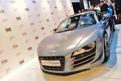Audi R8 GT Spyder på skärm på Audi Fashion Festival 2012 Arkivfoto
