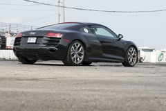 Audi r8. Napierville dragway, July 12, 2015, rear side view of black audi r8 go to the starting line Stock Images