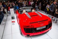 Audi R8 på motorshow Arkivfoto