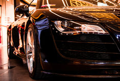 Audi R8 Quattro black sportcar. Royalty Free Stock Photos