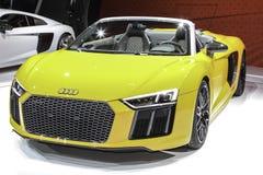 Audi R8 Spyder au salon de l'Auto 2016 d'International de New York Photos stock
