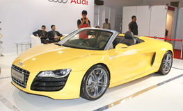 An Audi R8 Spyder on display in Autocar Performance Show in Mumbai. An Audi R8 Spyder on display in Autocar Performance Show held annually in MMRDA Grounds Royalty Free Stock Images
