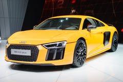 Audi R8 V10 плюс, мотор-шоу Geneve 2015 Стоковое Изображение