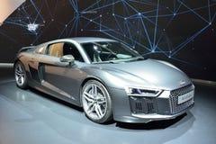 Audi R8 V10 plus bilen Royaltyfri Fotografi